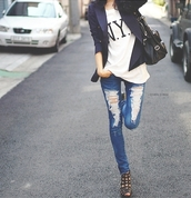 jeans,ripped jeans,blazer,bag,denim,new york city,shoes,shirt