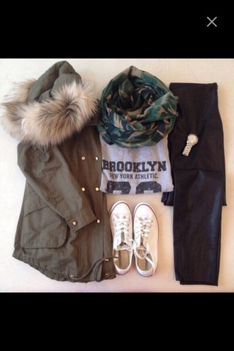 jacket parka converse leather leather pants brooklyn t-shirt army green jacket camouflage scarf watch green jacket