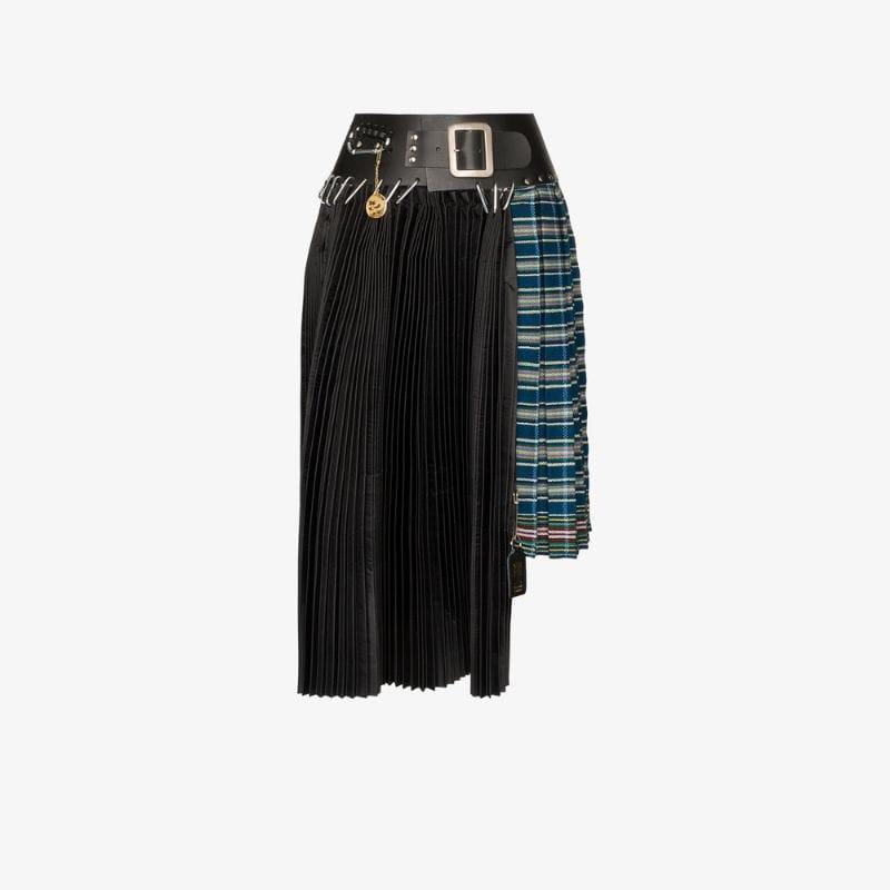 Chopova Lowena Box pleat recycled kilt skirt