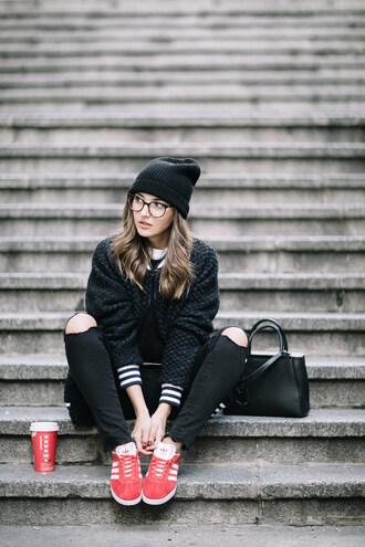 lovely pepa blogger jacket jeans shoes hat bag beanie handbag black bag black jeans