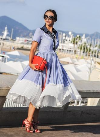 let's talk about fashion ! blogger dress bag sunglasses shoes blue dress midi dress short sleeve dress short sleeve round sunglasses michael kors red bag sandals sandal heels high heel sandals red sandals