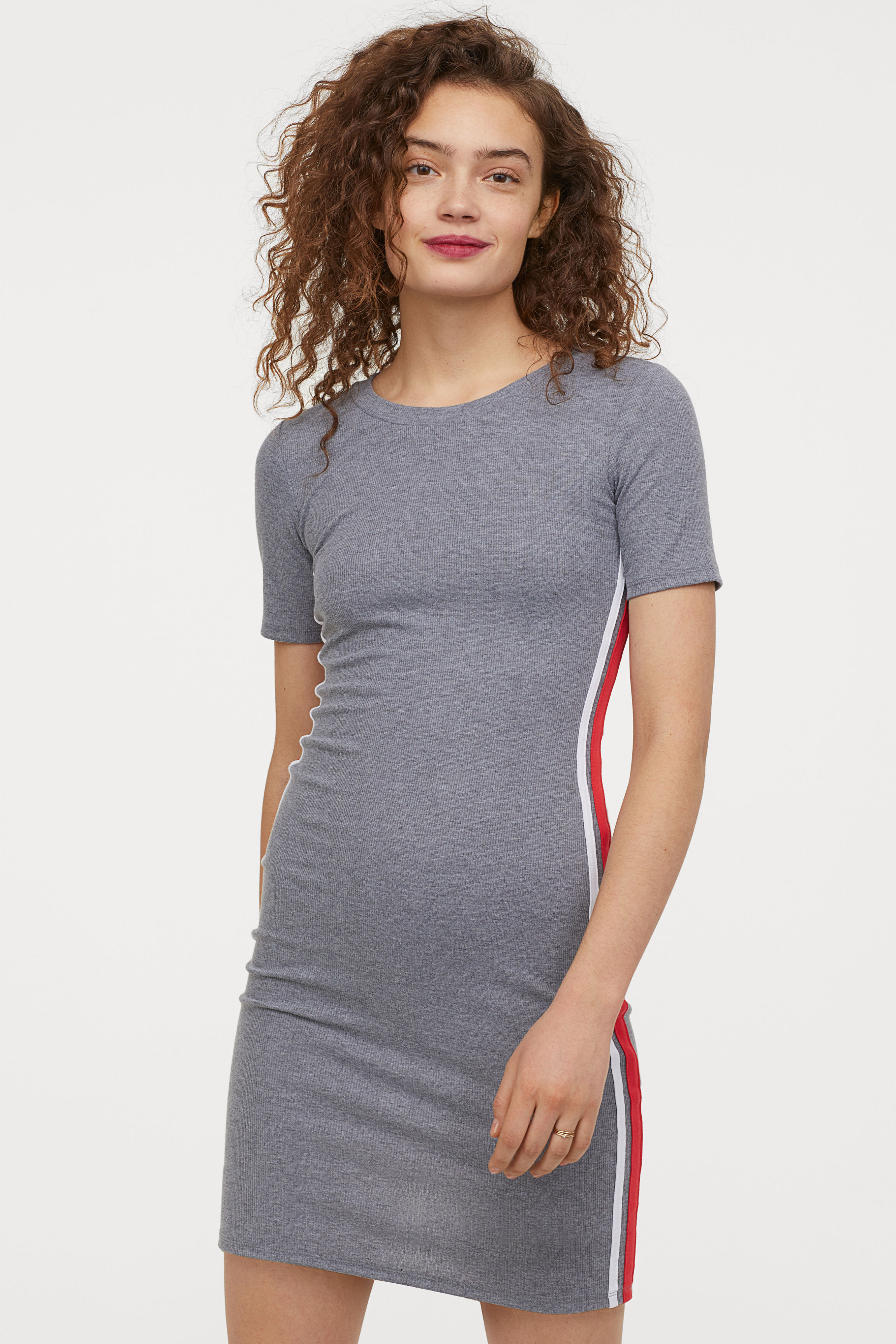 Jersey Dress - Black/red - Ladies | H&M US