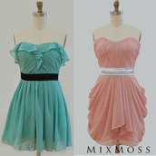 dress,prom dress,wedding clothes,pink dress,blue dress,strapless,lace strapless dress,pink chiffon,vintage