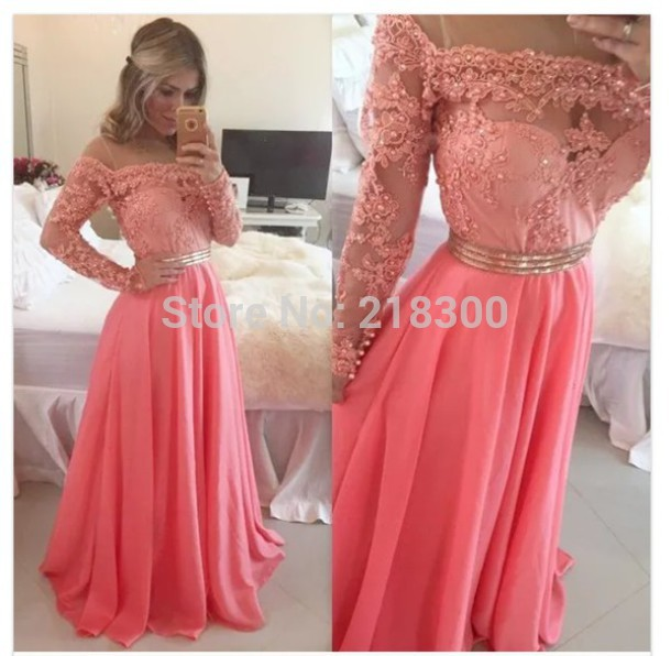 Aliexpress.com : Buy Modest coral prom dress long sleeves ...