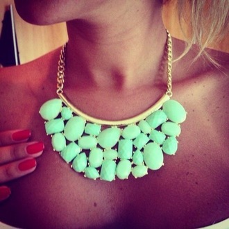 mint jewels style pastel necklace neon gold chain necklace sexy gold diamonds