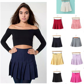 eb50283163 Marca americana Apparel cintura alta saias ocasional do vintage Nifty  plissada Ladies MINI saias mulheres saia ...