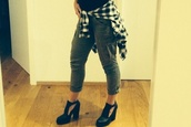 shoes,high,boots,black,platform high heels,flannel shirt