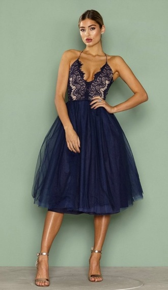 dress blue dress rare london lage dress tutu dark blue prom dress tutu dress