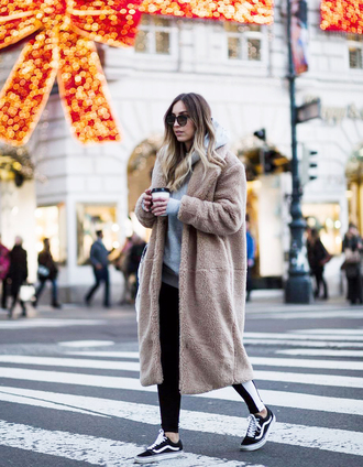 coat tumblr camel camel coat camel long coat teddy bear coat fuzzy coat pants black pants side stripe pants sneakers black sneakers sweater