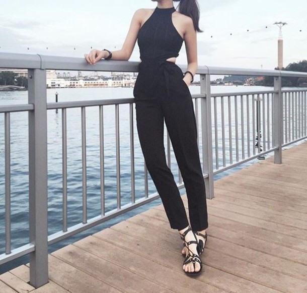 jumpsuit halter neck black cut-out tall long pant suit one piece clothes stripes ribbon stripes halter jumpsuit unitard crop crop tops pants romper romper
