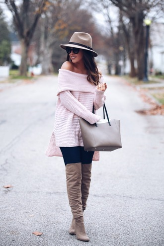 fashionably kay blogger sweater jeans shoes hat bag pink sweater off the shoulder sweater felt hat handbag over the knee boots fall outfits