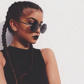 round sunglasses,grunge wishlist,boxer braid,accessories,Accessory,sunnies,sunglasses,make-up,chic,hipster,urban,hair,crop tops,braid,braided,lipstick,lips,black,light skin girls,black lip stick,black lips,glasses,black round sunglasses,eyebrows,eye makeup,black crop top,crop,halter top,high neck crop top set,hairstyles,hair accessory,hot,pretty,face makeup,black top,french braids,black sunglasses,retro sunglasses,cute,cute top