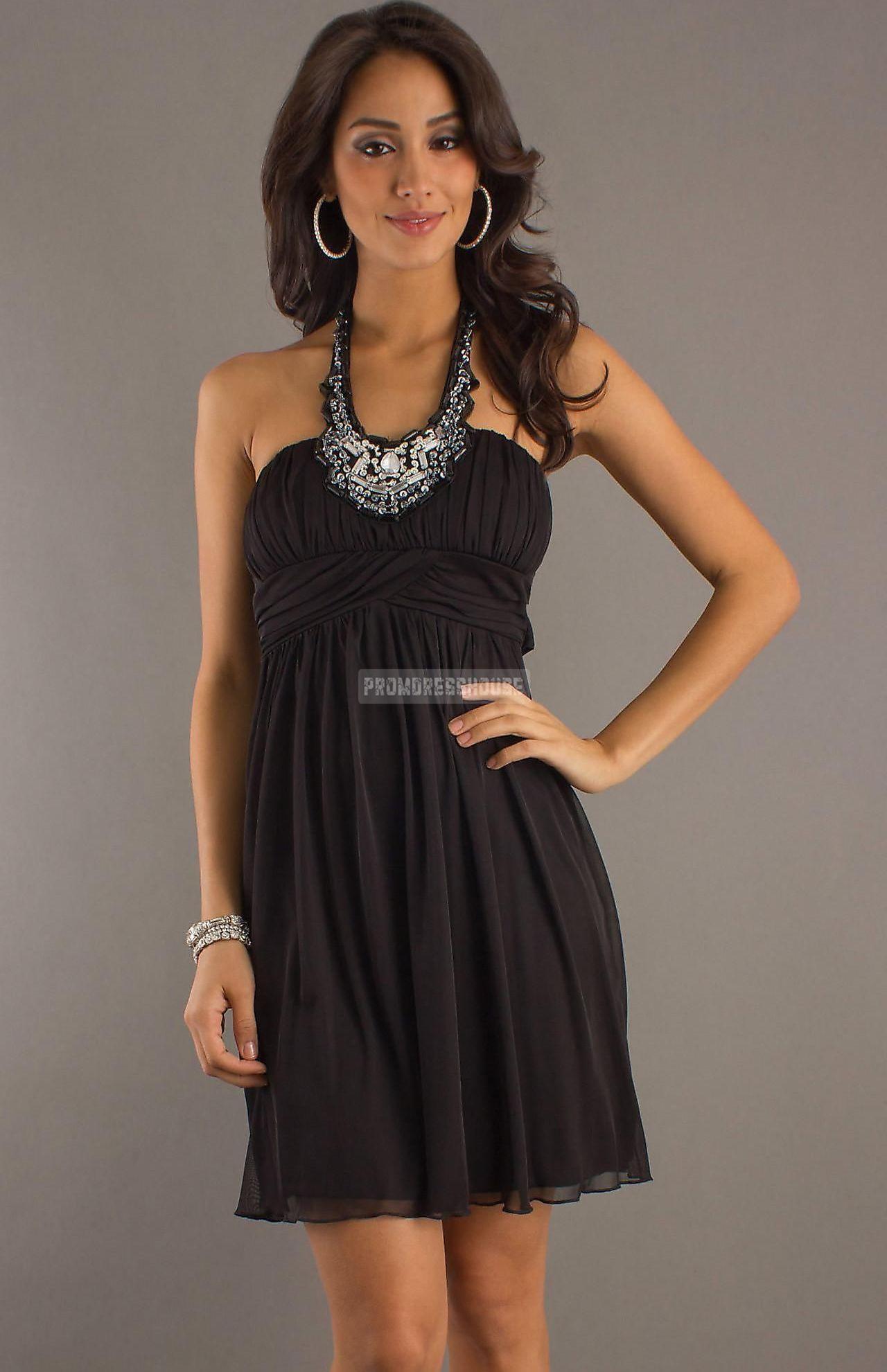 Beading Empire Halter Chiffon A-line Open Back Black Cocktail Dress - Promdresshouse.com