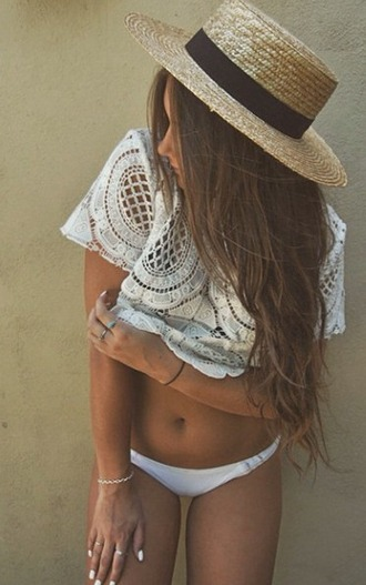 top shirt crochet lace floral t-shirt summer cute boho bohemian tumblr internet white girl vintage hipster hippie fashion vogue chanel hat