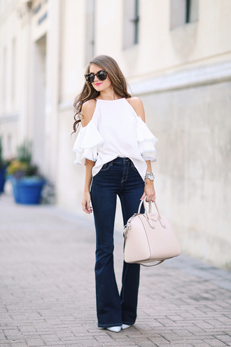 southern curls and pearls blogger bag shoes jewels sunglasses make-up off the shoulder ruffle skinny jeans animal print wide-leg pants nude bag beige white sneakers white heels