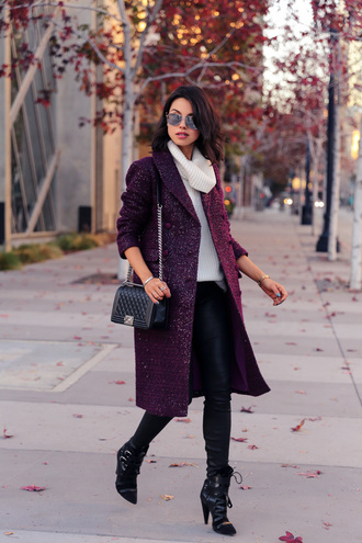viva luxury blogger plum winter coat aviator sunglasses winter outfits knitted sweater leather pants turtleneck black heels coat pants bag sweater shoes jewels black leather pants