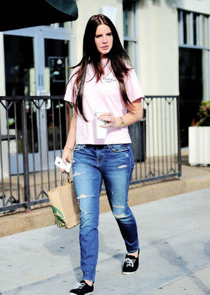 t-shirt lana del rey jeans beverly hills shirt burbank starbucks pink polo shirt