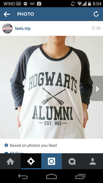 hogwarts harry potter long sleeve shirt baggy shirt