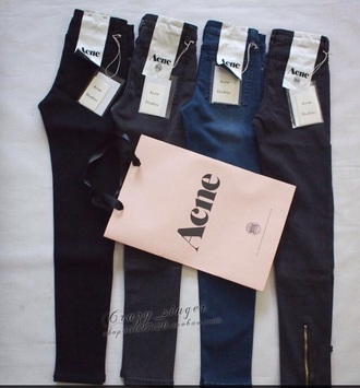 jeans zip zipper pants acne studios zipper jeans designer designer jeans black blue grey denim cute boho girly style zipped pants