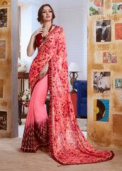 dress,pink colour georgette casual saree,casual wear,sarees,ethnic saree