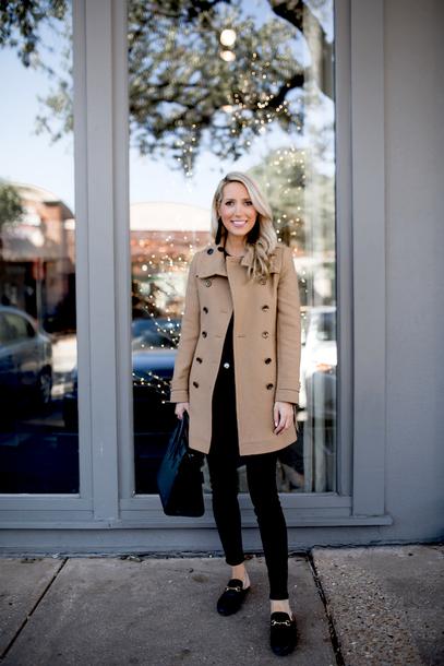 krystal schlegel blogger coat t-shirt jeans jewels bag shoes beige coat fall outfits handbag loafers