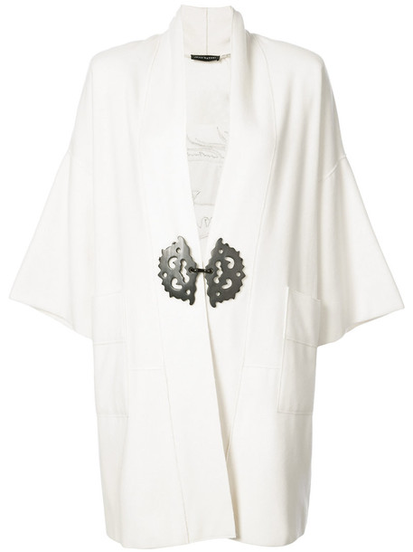 Natori coat back embroidered women white wool