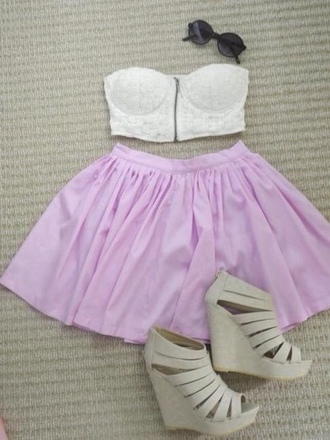 shirt skirt lavender skirt lace top shoes cute bandeau lavender medium heels wedges strappy tank top blouse dress purple heels hipster bustier lace lovely beautiful