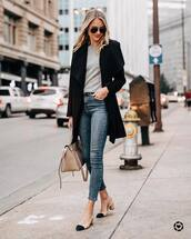 shoes,chanel slingbacks,jeans,bag,sweater,black coat,black sunglasses