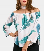 blouse,girly,white,white top,leaf print,tropical,off the shoulder,off the shoulder top