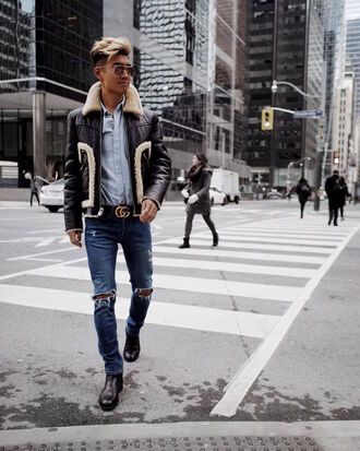 alexander liang blogger jacket jeans shirt shoes sunglasses belt menswear mens jacket mens shirt mens jeans mens shoes gucci belt streetwear 70s style coach asos lanvin rayban gucci