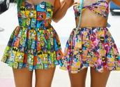 dress,colorful,hipster,cartoon,superheroes,yellow,marvel,comics,skirt,t-shirt