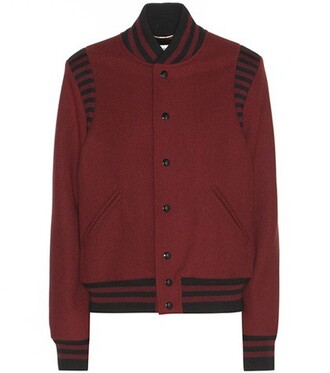 jacket bomber jacket wool red