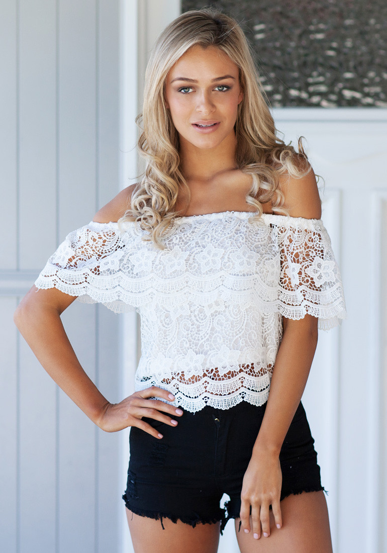 Off Shoulder Top - White - Lookbook Store