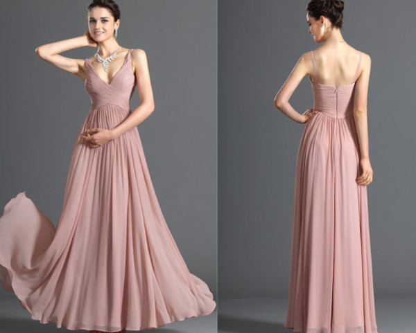 Zj0023 Two Shoulder V Neck Maxi Light Blue Baby Pink Chiffon Formal