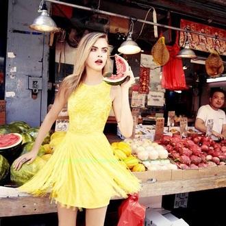 yellow cara delevingne dress