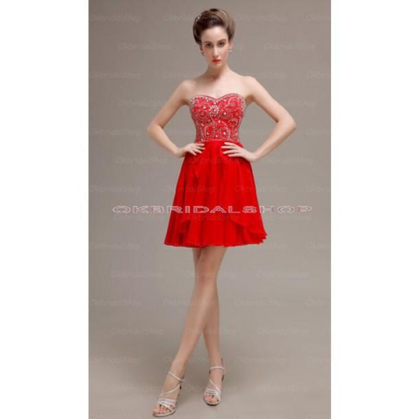 dress prom dress prom dress red short prom dress