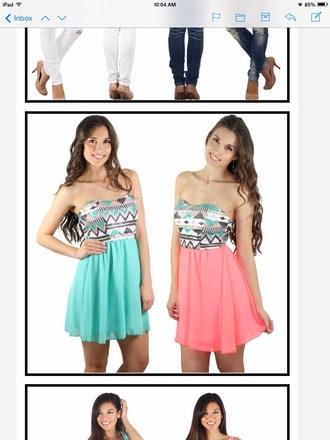 dress summer dress short dress mini dress summer mini dress style coral dress mint dress