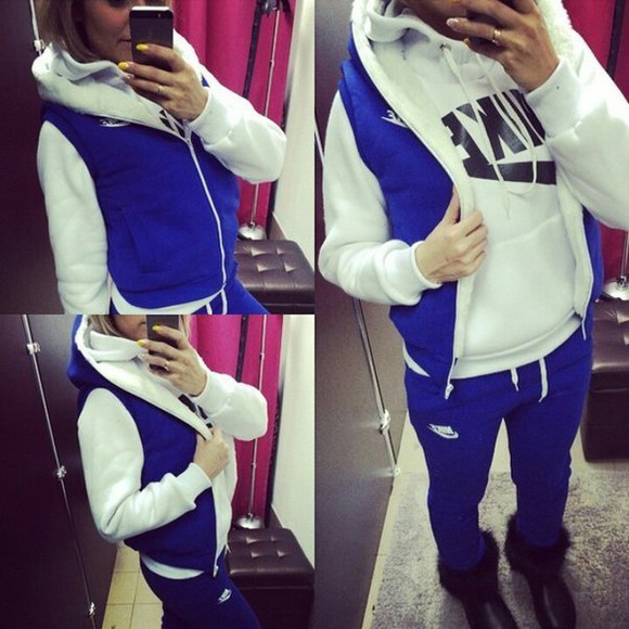 nike sportswear fashion style jumpsuit 3 piece suit tracksuit tracksuit bottoms jacket coat hoodie hoodie coat pants blue hood sweater winter sweater winter jacket