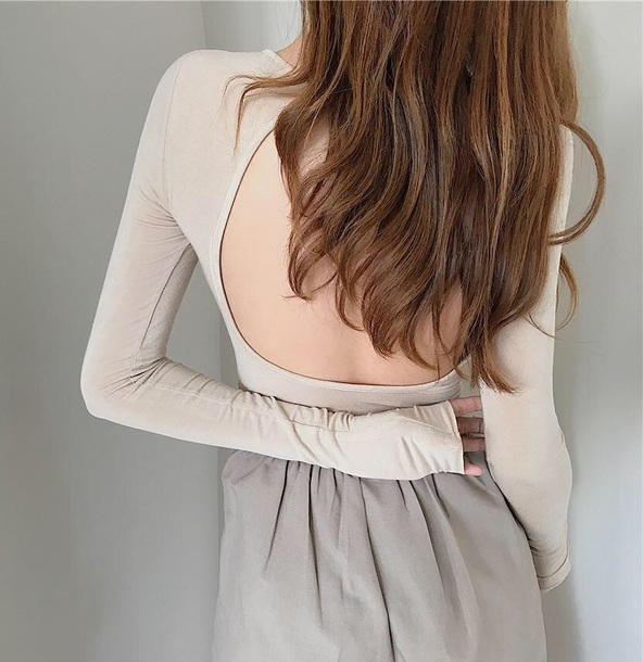 blouse girly nude backless backless top bodysuit