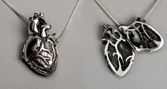 heart jewels necklace silver anatomic heart anatomical heart