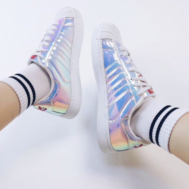 shoes, holographic, superstar, adidas, adidas superstars