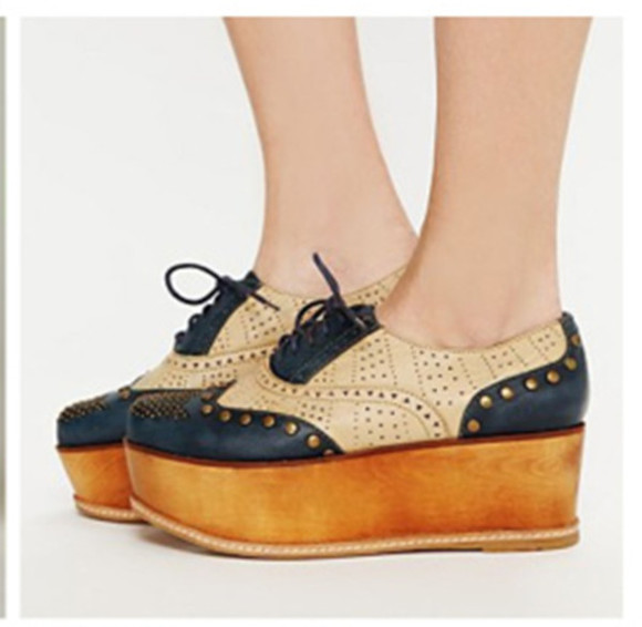 shoes wooden heel wooden platforms oxford studs navy must have flatforms i must have