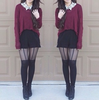 tights blouse sweater shoes pants