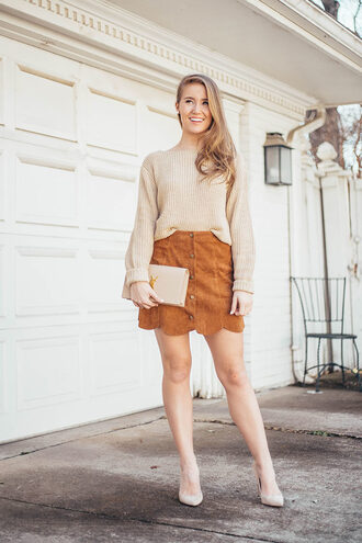 lonestar southern blogger skirt sweater shoes bag jewels beige sweater spring outfits ysl bag pumps suede skirt