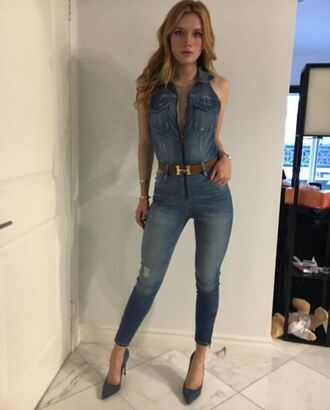 jumpsuit denim jeans bella thorne instagram pumps belt shoes denim jacket denim shoes pointed toe pointed toe pumps heels high heels cute chic studded shoes stilettos blue heels guess asos
