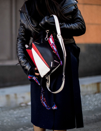 bag nyfw 2017 fashion week 2017 fashion week streetstyle skirt midi skirt black skirt jacket black jacket black leather jacket leather jacket
