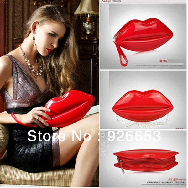 Popular Sexy Women Lady Clutch Chain Shouder Bag Evening Party Lip Shape Purse Satchel Black Red Pink-in Clutches from Luggage & Bags on Aliexpress.com