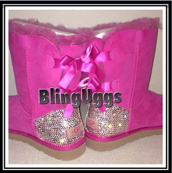Ugg bailey bow australia custom swarovski heels authentic