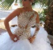 dress,glitter,fluffy,white,white dress,wedding dress,design,jewels,silver sequin dress