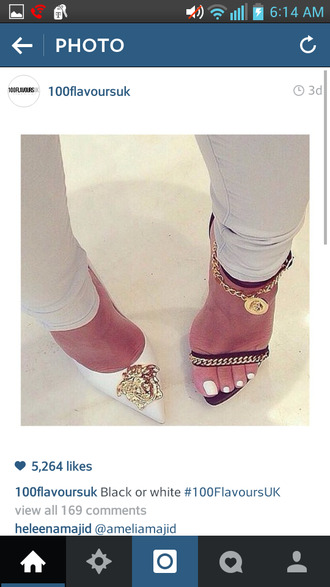 shoes medusa white heels white pointy toe pointed toe heels chain link black heels black sandals heeled sandal